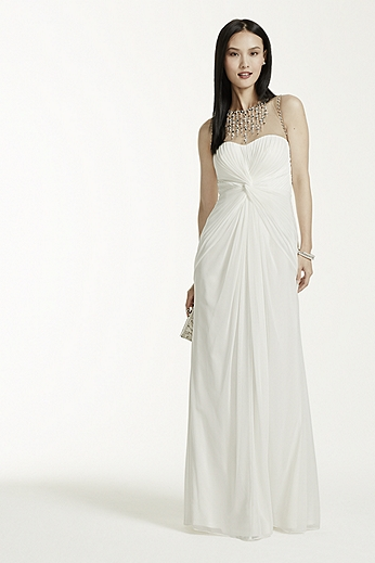 Long Mesh Dress with Illusion Beaded Neckline 062891640