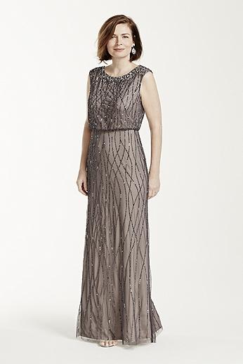 Cap Sleeve All Over Beaded Boluson Dress 091899230