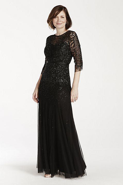 3/4 Illusion Sleeve Beaded Floor Length Dress | David\'s Bridal