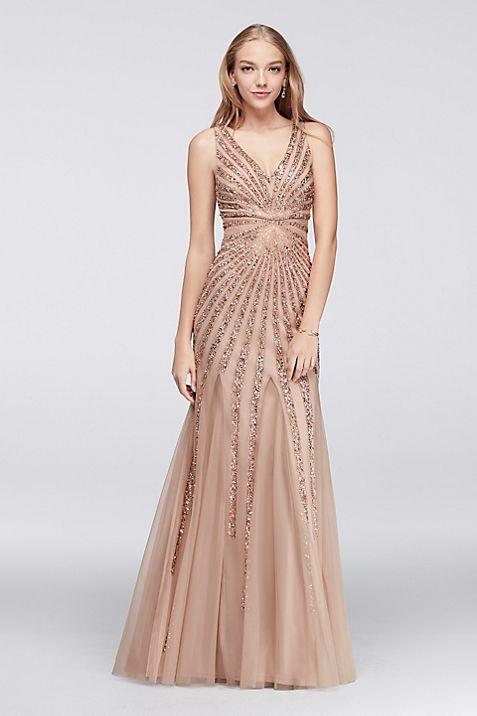 Beaded Sunburst Mesh Mermaid Dress | David\'s Bridal