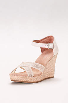 TOMS Ivory Wedge Shoes (TOMS Crisscross Lace Wedges)