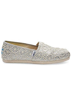 TOMS Grey Casual Shoes (TOMS Crochet Glitter Classic Slip-On Shoes)