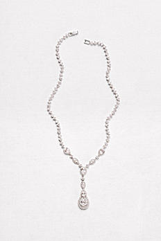 Cubic Zirconia Teardrop Y-Necklace 10070336N
