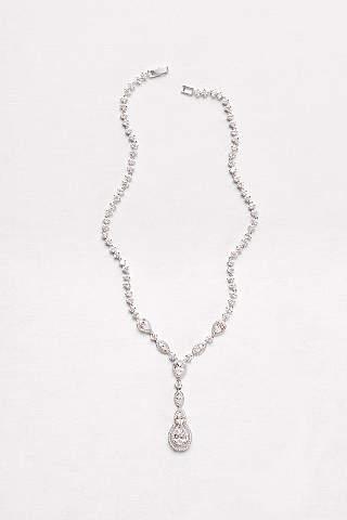 Bridal wedding necklaces davids bridal cubic zirconia teardrop y necklace junglespirit Image collections