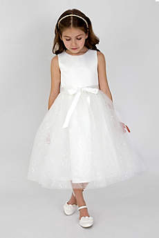 Satin and Sequined Tulle Flower Girl Dress