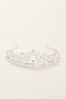 Silver Tiara with Metal, Rhinestones,and Pearls 10266