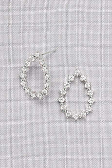 Cubic Zirconia Open Teardrop Earrings
