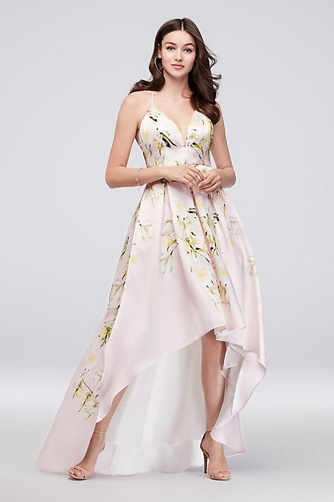 Floral Mikado Crossback High-Low Ball Gown | David\'s Bridal