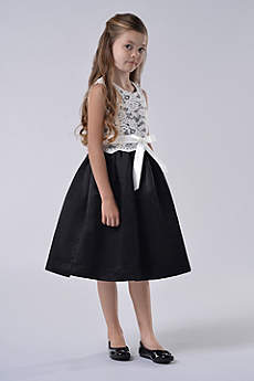 Lace and Satin Flower Girl Dress With Sash