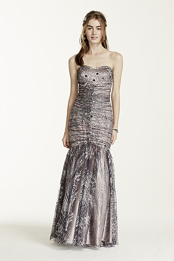 Strapless Glitter Tulle Fit and Flare Dress 106DB