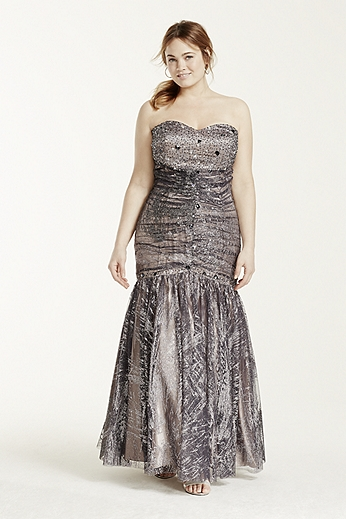 Strapless Glitter Tulle Fit and Flare Dress 106DW