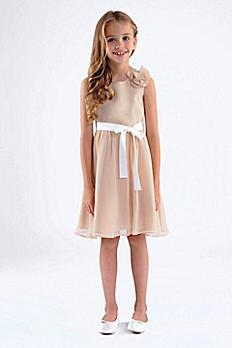 Crinkle Chiffon Girls Dress with Removable Flower 107UA