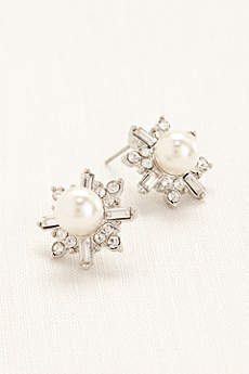 Pearl and Crystal Starburst Earrings