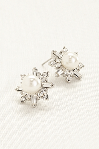 Pearl and Crystal Starburst Earrings 11024172IVYS
