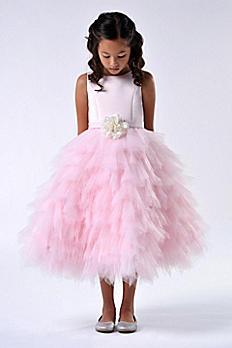 Satin and Tulle Tea-Length Flower Girl Dress 110UA