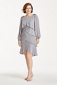 Long Sleeve Short Tiered Chiffon Dress 111203DB