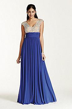Crystal Encrusted Cap Sleeve Bodice Prom Dress 1115DB