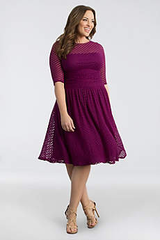 Short A-Line 3/4 Sleeves Cocktail and Party Dress - Kiyonna