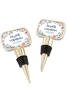 Personalized Floral Pattern Gold Bottle Stopper