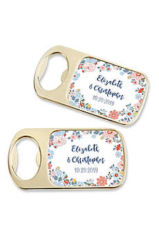 Personalized Floral Pattern Gold Bottle Opener