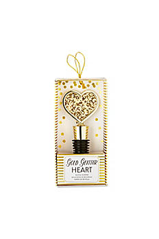Gold Glitter Heart Bottle Stopper 11282GD