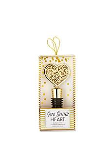 Gold Glitter Heart Bottle Stopper
