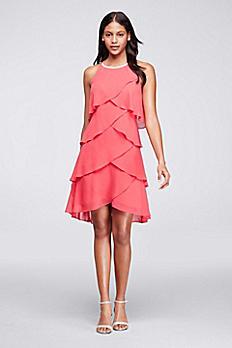 Short Ruffled Dress with Pearl Beaded Neckline 113695DB