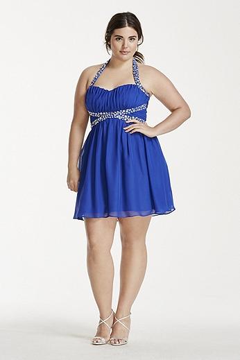 Short Chiffon Halter Dress with Crystal Beading 111432DW