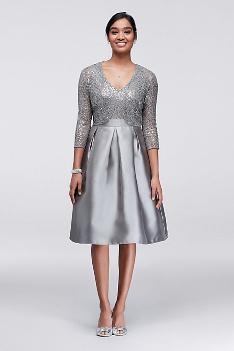 Sequin and Mikado Knee-Length Dress with Jacket | David\'s Bridal