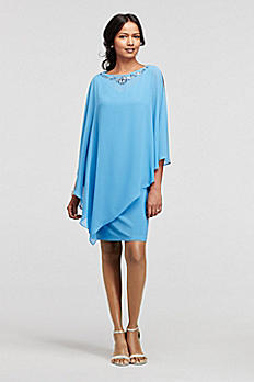 Short Jersey Dress with Beaded Chiffon Caplet 114885DB