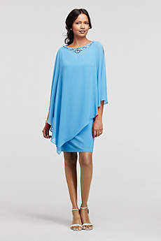 Short Sheath Capelet Cocktail and Party Dress - Ignite