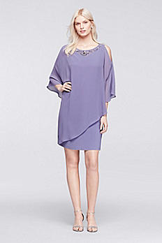 Short Jersey Dress with Beaded Chiffon Caplet 114885DB