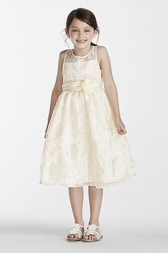 Floral Organza Tea Length Dress with Sash 1150286