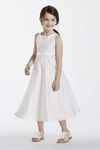 Satin Aline Tank Dress with Lace Detail 1150412W