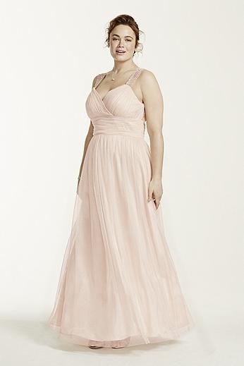 Open Back Beaded Strap Glitter Tulle Ball Gown 11810W