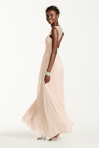 Open Back Beaded Strap Glitter Tulle Ball Gown 11810