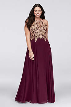 Long A-Line Halter Prom Dress - Xscape