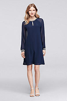 Knee Length Dress with Pearls at Neck and Cuffs 118914