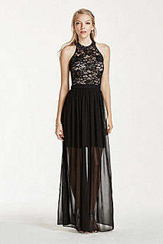 Lace Halter Dress with Chiffon Illusion Skirt 11922
