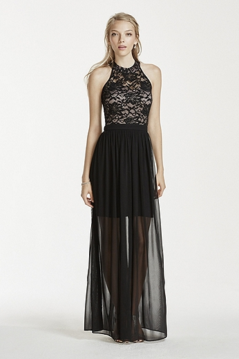 Lace Halter Dress with Chiffon Illusion Skirt 11922