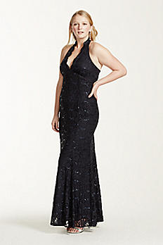 Sequin Lace Scallop Plunge Halter Gown 11996W