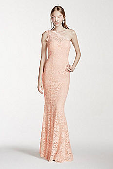 One Shoulder Illusion Neckline Glitter Lace Dress 12009