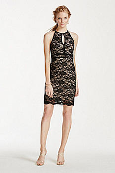 All Over Lace Keyhole Halter Strappy Back Dress 12052