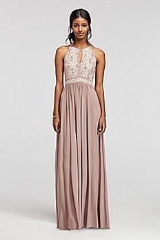 Lace Keyhole Tie Back Halter Dress 12089