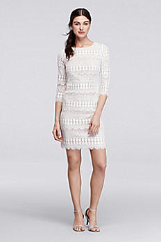 Patterned Lace Short Dress with 3/4 Sleeves 120901