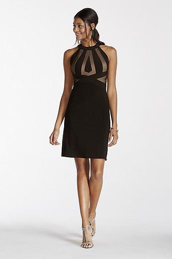 Illusion Panel Open Back Short Halter Jersey Dress 12096
