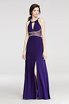 Halter Prom Dress with Beaded Illusion Waist 12131