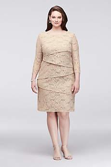 Asymmetric Tiered Lace Plus Size Sheath Dress