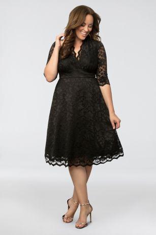 Black lace a-line cocktail dress