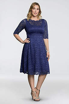 Long 3/4 Sleeves Cocktail and Party Dress - Kiyonna